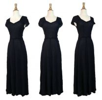 Vintage 40s Navy Blue Berry Spider Web Illusion Mesh Lace Cocktail Evening Gown