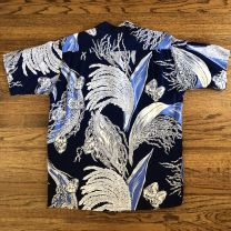 Late 1940s / Early 1950s Navy Rayon Lauhala Hawaiian / Aloha Shirt - Fashionconstellate.com