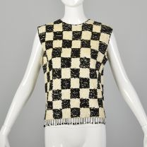 Medium 1960s Sequin Top Black & White Checkered Knit Blouse Beaded Fringe Mod New Years Holiday