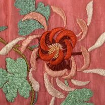 Medium 1930s Pink Robe Quilted Asian Inspired Silk Floral Embroidered Dressing Gown - Fashionconstellate.com