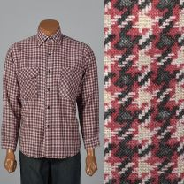 XL Mens 1960s Shirt Pink and Black Houndstooth Plaid Long Sleeve Collared Button Down