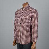 XL Mens 1960s Shirt Pink and Black Houndstooth Plaid Long Sleeve Collared Button Down - Fashionconstellate.com