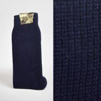 Size 10 - 13 1950s Deadstock Navy Blue Stretch Socks Trouser Calf Ribbed