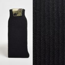 Size 10 - 13 1950s Deadstock Ribbed Knit Black Stretch Socks Trouser Calf Height