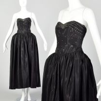 XXS 1940s Black Taffeta Evening Gown Formal Party Dress with Panniers and Rhinestone Bodice