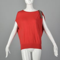 Medium Top Sleeveless Knit Asymmetrical Red Drop Shoulders Rounded Neckline Loose Fit Stretch Shirt