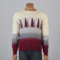 Medium Mens 1980s Sweater Cream Gray and Burgundy Evergreen Tree Fair Isle Print Knit Pullover