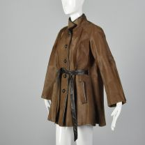 Small 1960s Pony Hair Coat Brown Smooth Soft Hide Leather Two Pockets Belted Black Leather Trim - Fashionconstellate.com