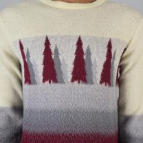 Medium Mens 1980s Sweater Cream Gray and Burgundy Evergreen Tree Fair Isle Print Knit Pullover - Fashionconstellate.com