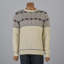 Large Mens 1980s Ski Sweater Cream with Green Red and Blue Nordic Fair Isle Print Holiday Jumper