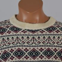 Large Mens 1980s Ski Sweater Cream with Green Red and Blue Nordic Fair Isle Print Holiday Jumper - Fashionconstellate.com