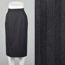 XXS 1970s Skirt Gucci Grey Pinstriped Pencil Silhouette Pockets Below the Knee-Length