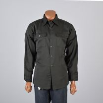 XL Mens 1960s Work Shirt Gray Green Twill Long Sleeve Button Down Industrial Workwear - Fashionconstellate.com