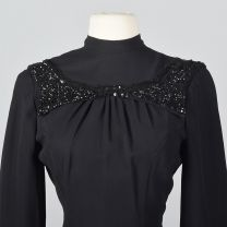 XS 1940s Black Fitted Blouse Sequin Trim Long Sleeve Top Fitted Waist Hourglass Evening Shirt - Fashionconstellate.com