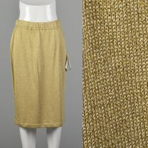 Medium 1990s Skirt St John Collection Gold Knit Glam Disco Pencil Skirt Holiday Cocktail