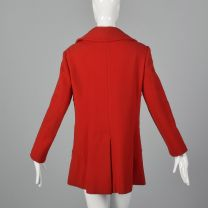 Small 1960s Pierre Cardin Red Coat Designer Heavyweight Wool Peter Pan Collar Brass Horse Buttons  - Fashionconstellate.com
