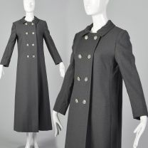 XS 1970s Coat Gray Formal Evening Maxi Double Breasted Long Overcoat Winter Outerwear