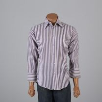 Large Mens 1970s Shirt Red White and Blue Striped Shirt Button Down Long Sleeves