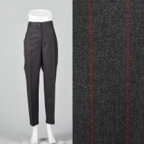 Medium 1990s Dolce & Gabbana Gray Trousers Red Pinstripe Gray Pants Pleated Front Tapered Leg
