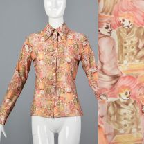 Medium Pink Top 1970s Peach and Orange Novelty People Print Blouse Long Sleeve Button Up Shirt