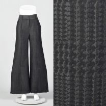 XS 1990s Giorgio Armani Wide Leg Pants Black on Black Houndstooth Low Rise Pants Silk Wool Blend