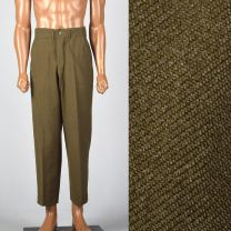 Small 29x28 1940s Mens Pants Military Olive  Button Fly Wool High Waist Flat Front Trousers