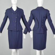 Small 1990s Skirt Suit Karl Lagerfeld Blue Hourglass Blazer Jacket Double Breasted Pencil Skirt Set