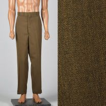 40x30 XL 1960s Mens Pants Brown Flat Front Tapered Leg Trouser Summer Weight