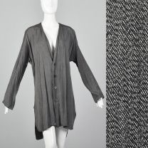 Medium 1990s Tunic Style Cardigan Long Sleeve Gray Slits Button Front Minimalist Sweater Top