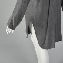 Medium 1990s Tunic Style Cardigan Long Sleeve Gray Slits Button Front Minimalist Sweater Top - Fashionconstellate.com