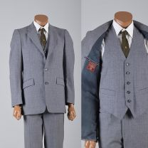 38R 32X30 Small Mens 1970s Suit Gray Three Piece Two Button Jacket Blazer Vest and Flat Front Pants