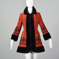 XXS 1970s Red Velveteen Princess Coat Faux Fur Trim Russian Style Jacket Black Floral Embroidery