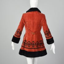 XXS 1970s Red Velveteen Princess Coat Faux Fur Trim Russian Style Jacket Black Floral Embroidery - Fashionconstellate.com