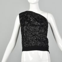 Small 1960s One Shoulder Top Vintage Sequined Top Asymmetrical Sleeveless Blouse Cocktail Top Formal