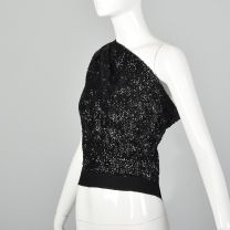 Small 1960s One Shoulder Top Vintage Sequined Top Asymmetrical Sleeveless Blouse Cocktail Top Formal - Fashionconstellate.com
