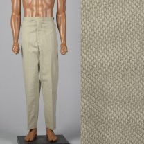 Large 1960s Deadstock Combed Cotton Tan Pants Flat Front Slanted Pockets Adjustable Waist