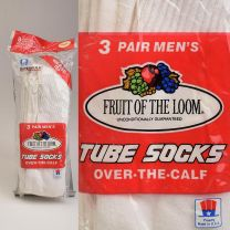 Size 6 - 12 1980s Fruit of the Loom Deadstock Three Pack Tube Socks Over The Calf Cotton Sport