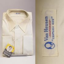 1950s Deadstock Mens Cotton Dress Shirt Long Sleeve French Cuffs Single Pocket