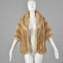1960s Buff Mink Stole Front Pockets Fur Stole Mink Outerwear Glamorous Evening Wear Pin Up