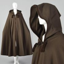 1976 Yves Saint Laurent Russian Collection Brown Wool Cloak with Hood Bohemian Autumn Cape