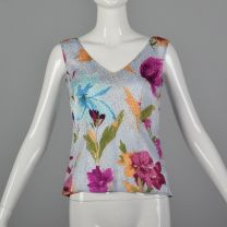 Small Escada 1990s Top Sleeveless Silk White Pink Blue Green Floral Print Blouse Tank Top V Neck