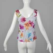 Small Escada 1990s Top Sleeveless Silk White Pink Blue Green Floral Print Blouse Tank Top V Neck - Fashionconstellate.com
