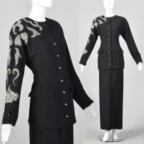 Small Miguel Cruz 1980s Two Piece Skirt Suit Women's Wool Suit Set Beaded Blazer and Skirt Set