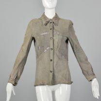 Small 1970s Suede Shirt with Lavender Snakeskin Details Long Sleeve Taupe Button Front Blouse