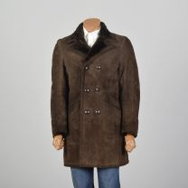 XS-Small 1970s Mens Coat Brown Suede Leather Faux Shearing Lining Double Breasted Jacket