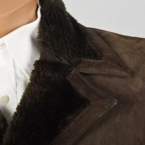XS-Small 1970s Mens Coat Brown Suede Leather Faux Shearing Lining Double Breasted Jacket - Fashionconstellate.com