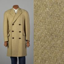 Small 1960s Mens Coat Double Breasted 4 Over 8 Tan Wool Tweed Winter Overcoat