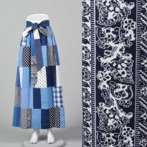 XS 1970s Blue Quilted Maxi Skirt Long Bohemian Skirt Hippie Boho Casual Patchwork Gingham Polka Dot