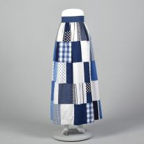 XS 1970s Blue Quilted Maxi Skirt Long Bohemian Skirt Hippie Boho Casual Patchwork Gingham Polka Dot - Fashionconstellate.com