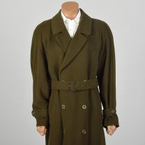 XL 1980s Mens Coat Long Wool Trench Coat Belted Double Breasted Overcoat - Fashionconstellate.com